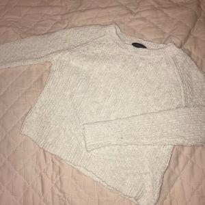 White crop knit sweater